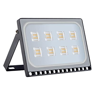 Viugreum 50W LED Flood Light, New Slim Design, IP67 Waterproof Outdoor Floodlights, 4000LM Warm White (2800-3200K), Super Bright Security Wall Lights for Garage, Garden, Yard, Square, Ship from USA