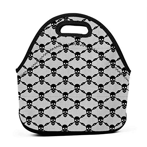 Rugged Lunchbox Gothic,Halloween Horror Theme Spooky Black Skulls Checkered Pattern with Skeleton Bones,Black White,cooler for lunch bag]()