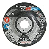 Walter Allsteel Versatile Grinding Wheel, Type 27, Round Hole, Aluminum Oxide, 4-1/2'' Diameter, 1/4'' Thick, 7/8'' Arbor, Grit A-24-AS (Pack of 25)