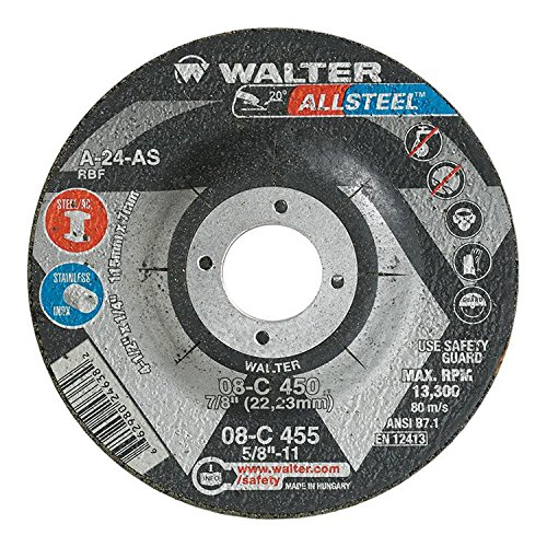 Walter Allsteel Versatile Grinding Wheel, Type 27, Round Hole, Aluminum Oxide, 4-1/2' Diameter, 1/4' Thick, 7/8' Arbor, Grit A-24-As (Pack of 25) 4-1/2 Diameter 1/4 Thick 7/8 Arbor Walter Surface Technologies 08C450
