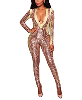 OLUOLIN Women s Long Sleeve Bodycon Sequins See Through V Neck Skinny Sexy  Jumpsuit Romper fd0917ec6