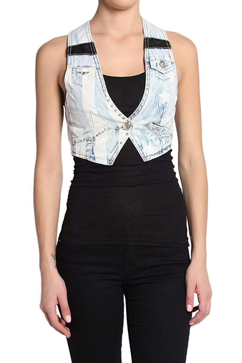 TheMogan Women's Vintage Distressed Washed Denim Vest Sleeveless Jean Jacket CQL-VEST