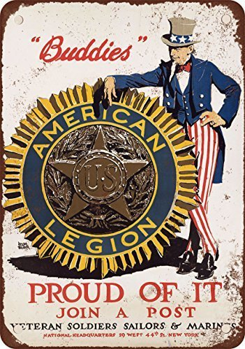 1914 Join an American Legion Post Vintage Look Reproduction Metal Tin Sign 12X18 (Legion Pool)