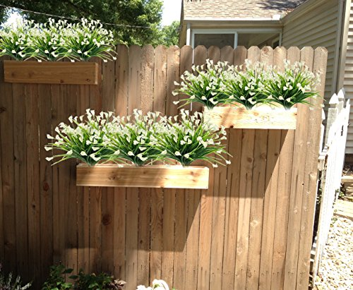 E-HAND-Artificial-Flowers-Outdoor-Fake-Plants-Faux-Shrubs-Calla-Lily-Plastic-Greenery-UV-Resistant-Window-Box-4-Pcs-Wholesale-Arrangement-for-Garden-Home-Kitchen-Dining-Room-Hanging-Planter-Cream
