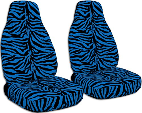 Animal Print Car Seat Covers: Blue Zebra - Semi-Custom Fit - Front - Will Make Fit Any Car/Truck/Van/SUV (30 ()
