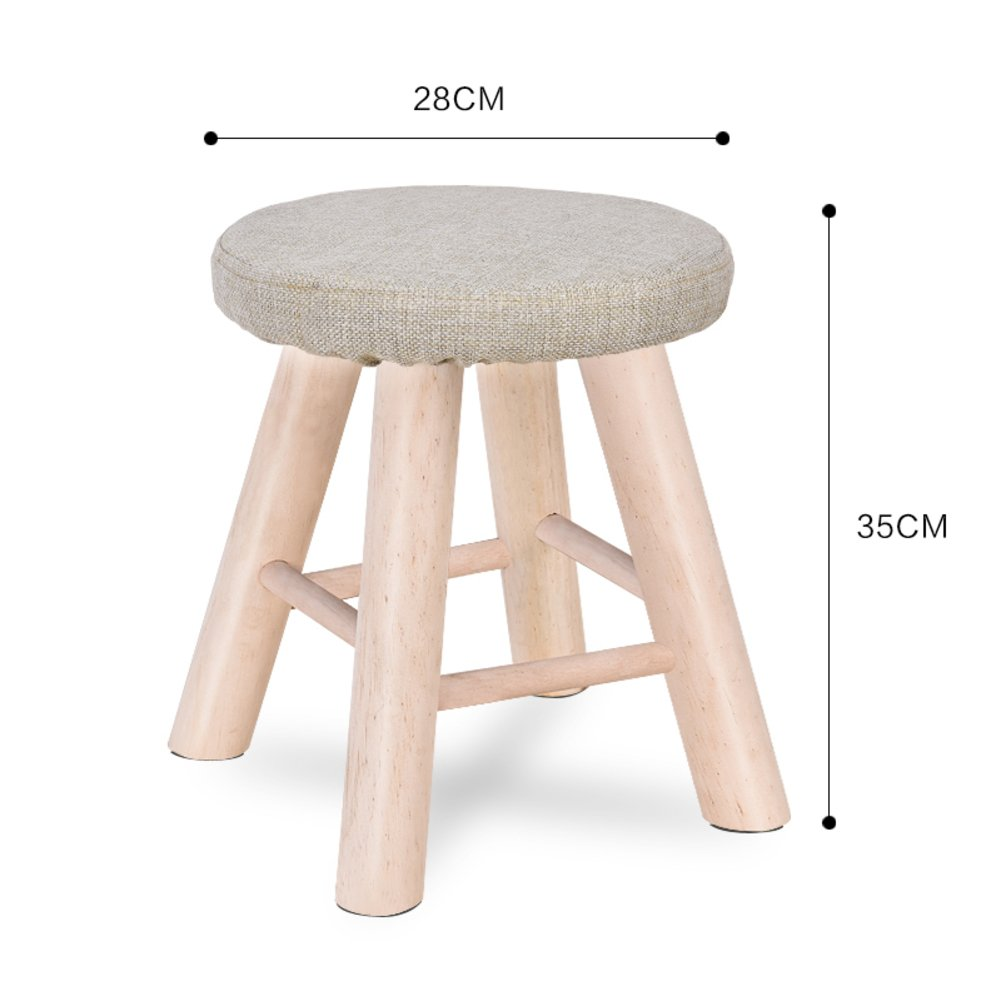 D&L Solid wood Round Footstool,Ottoman Creative Cute Stool For Kids Fabric Cover 4 legs And Removable Linen Cover-A L28xW28xH35cm