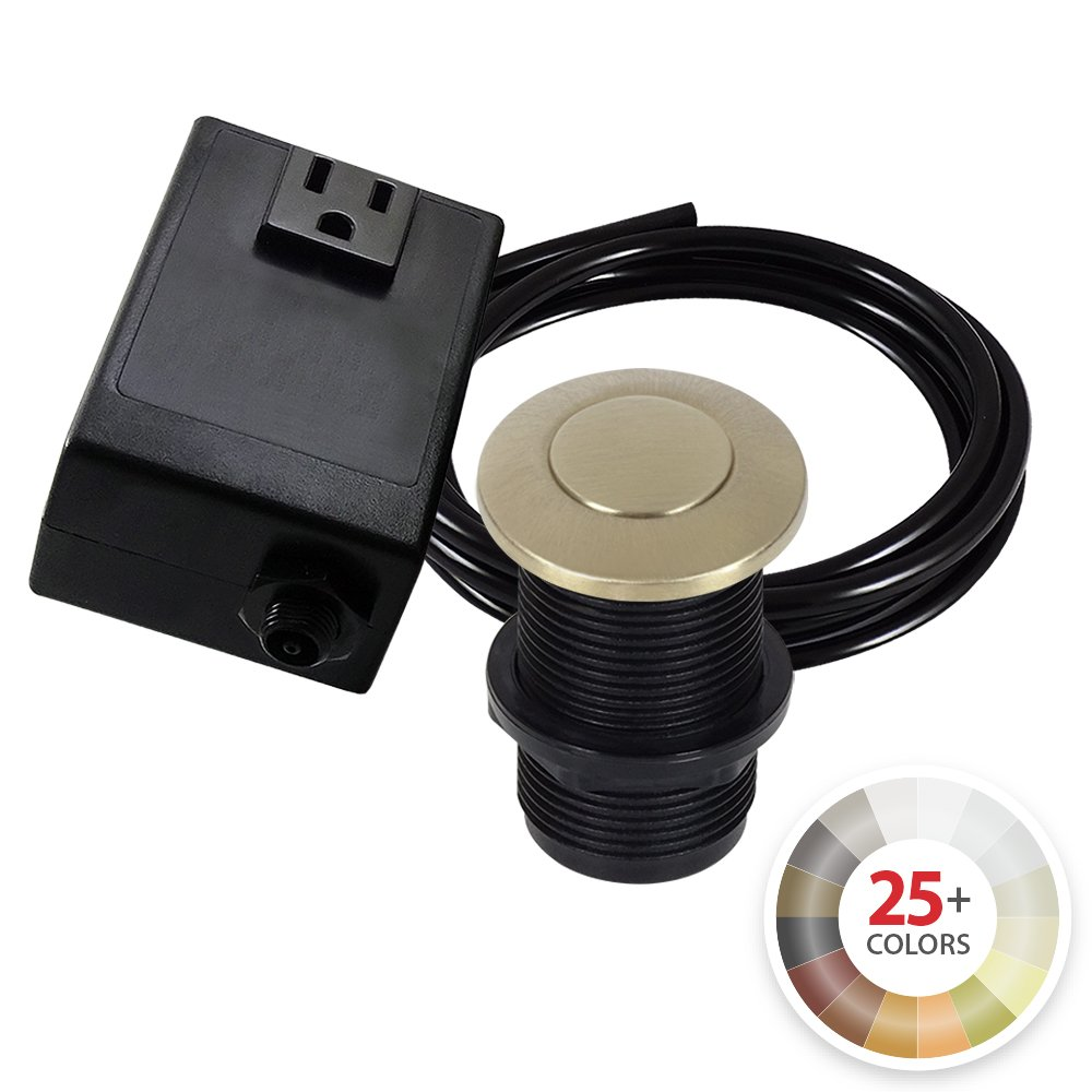 Single Outlet Garbage Disposal Turn On/Off Sink Top Air Switch Kit in Champagne Bronze. Compatible with any Garbage Disposal Unit and Available in 25+ Finishes by NORTHSTAR DÉCOR. Model # AS010-CB