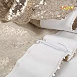 LQIAO W50xH84in Light Gold Sequin Curtain Backdrop