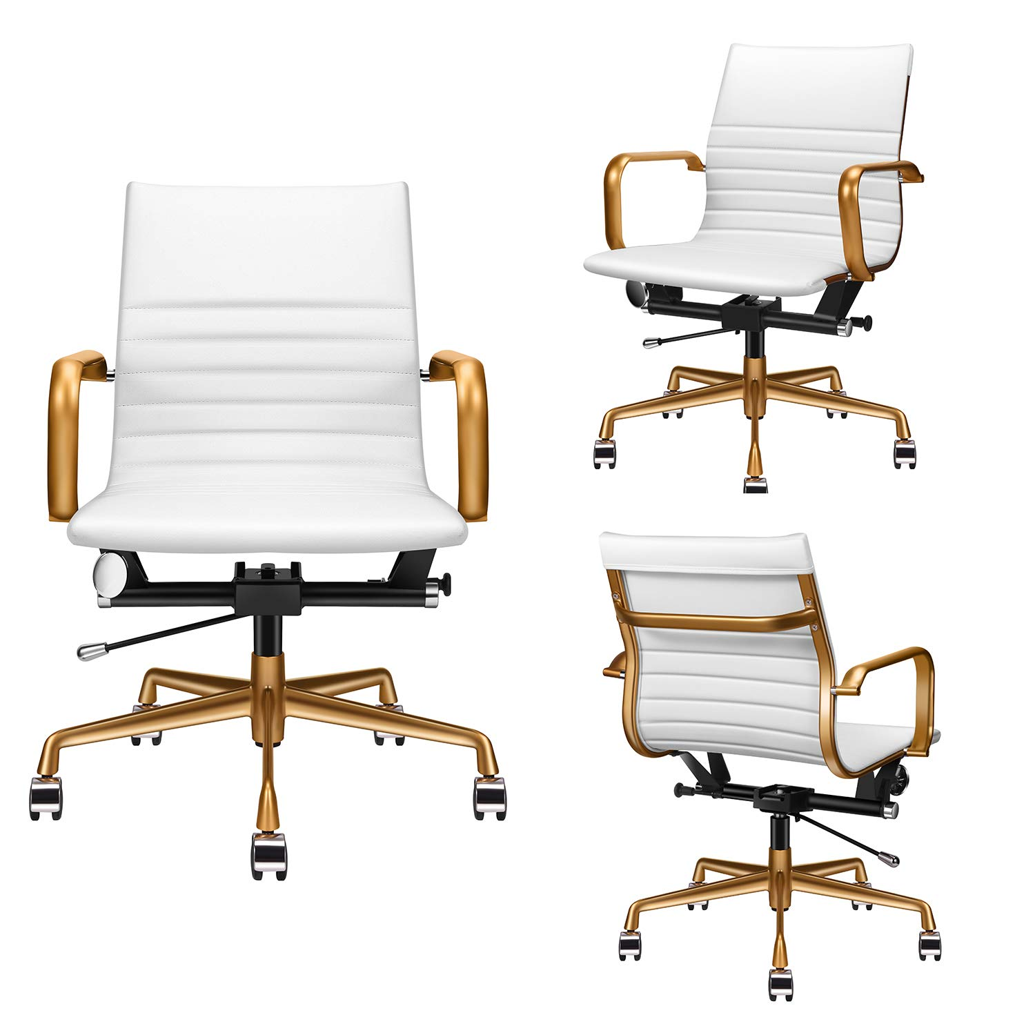 Black Study Chair Ergonomic Desk Chair With Back Lumbar Support Mid Back Desk Chair Black Receptionist Chairs Mid Back Office Chair Black LUXMOD Black Office Chair Ergonomic Desk Chair With Arms