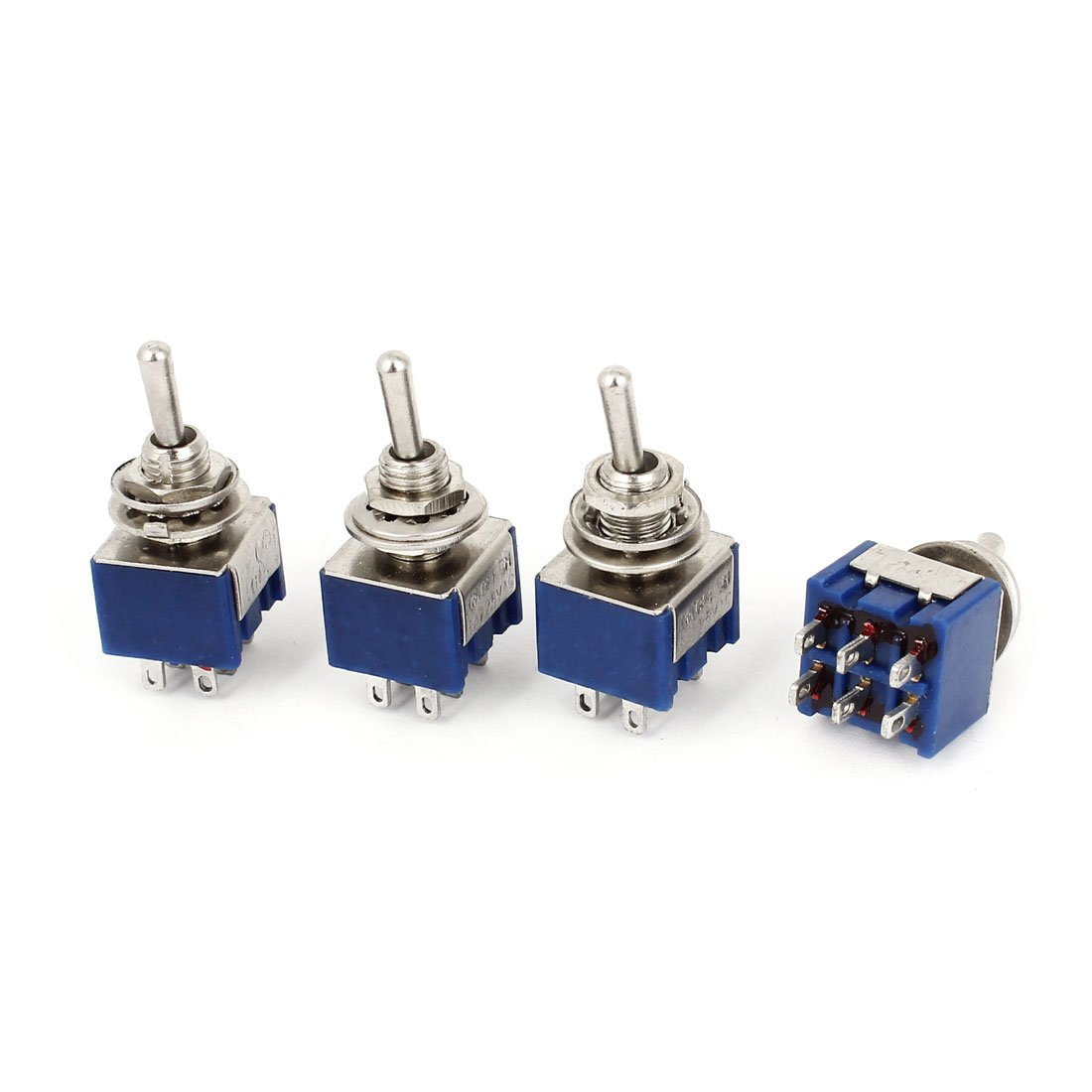 Uxcell a14103100ux0366 Toggle Switch, AC 125V 6 Amp, DPST 3 Position ON/OFF/ON Self Locking, 4 Piece