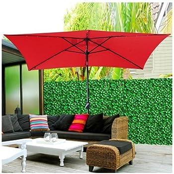 Rectangle Patio Umbrella W/ Solar LED Lights 10u0027x6.5u0027 Red