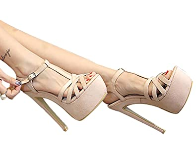 334511f5a5f CAMSSOO Women s Sex High Heels Platform Sandals T-Strap - Stilettos Open Toe  Sandal Dress