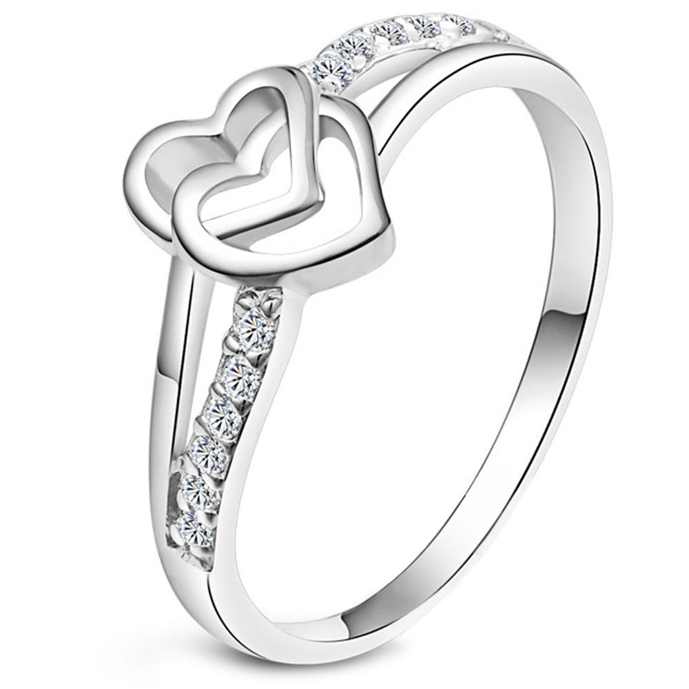 XAHH Women's Platinum Plated Double Heart Bridal Engagement Wedding Band Cubic Zirconia CZ Eternity Ring 8