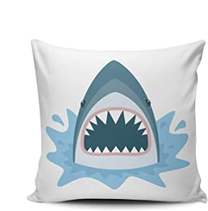 ONGING Decorative Throw Pillow Case Shark with Open Mouth Pillowcase Cushion Cover Double Sided Design Printed European Size 26X26 Inch