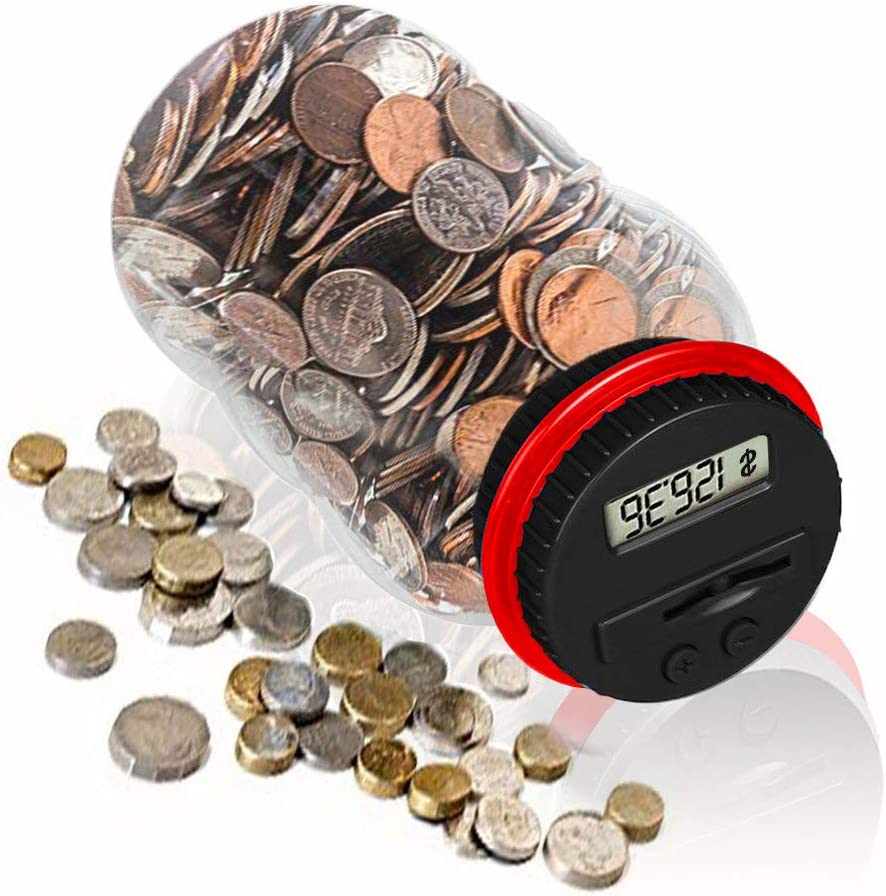 HeQiao Clear Digital Coin Bank for U.S. Pennies, Nickels, Dimes, Quarters, Half Dollars, Dollar Coins (Red)