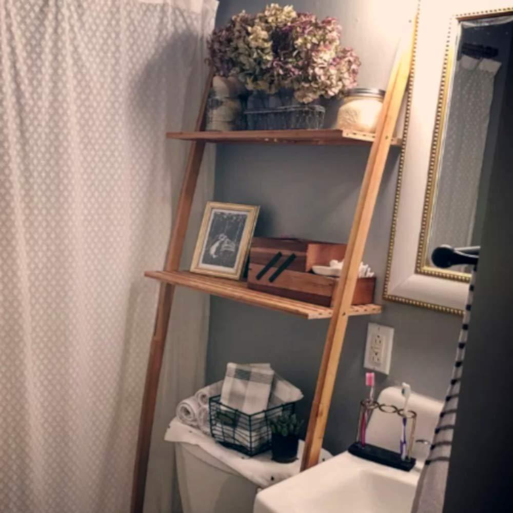 Bathroom Etagere Over Toilet Storage Sets, Wood Contemporary Nature Bamboo Finish Shelf, Vanity Simple Over Toilet Tall Etagere Storage & E-Book by Bathroom