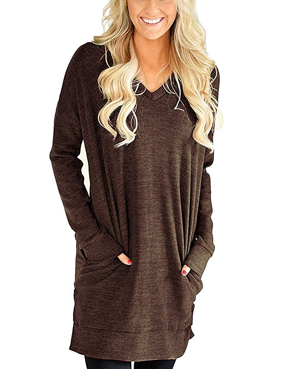 Brown lili's story Women Long Sleeves Shirt VNeck Tunic Tops for Legging Pocket Solid color Casual Blouse