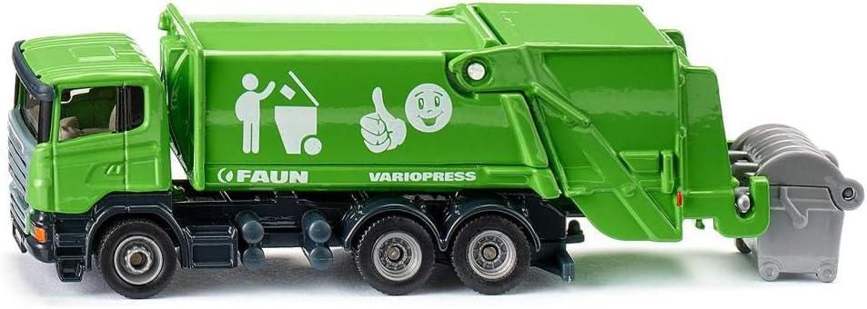siku 1890 Camión de basura con contenedor, Zona de carga inclinable, Contenedor accesorio, 1:87, Metal/Plástico, Verde