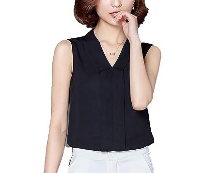 376a5b2e60c Women Chiffon Blouses Ladies Tops Female Sleeveless White Shirt Plus Size Women  Clothing