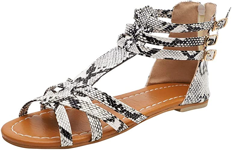 Ansenesna Sandalen Damen Sommer Flach Bunt Boho Vintage Schuhe Offen Reißverschluss Stoff Comfort Sommerschuhe