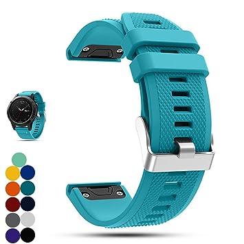 Correa de repuesto para reloj Garmin Fenix 5 Multisport GPS, de la marca Ifeeker. Correa de silicona de instalación rápida, color Cyan: Amazon.es: Deportes ...