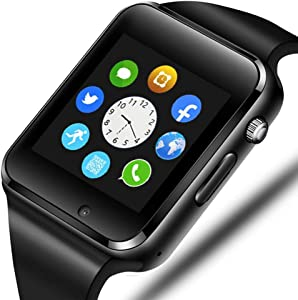 321OU Smart Watch Compatible Android and iOS Phone with SIM SD Card Slot Camera Android Smartwatch Touch Screen Bluetooth Smart Watch for Men Women Kids (Black)