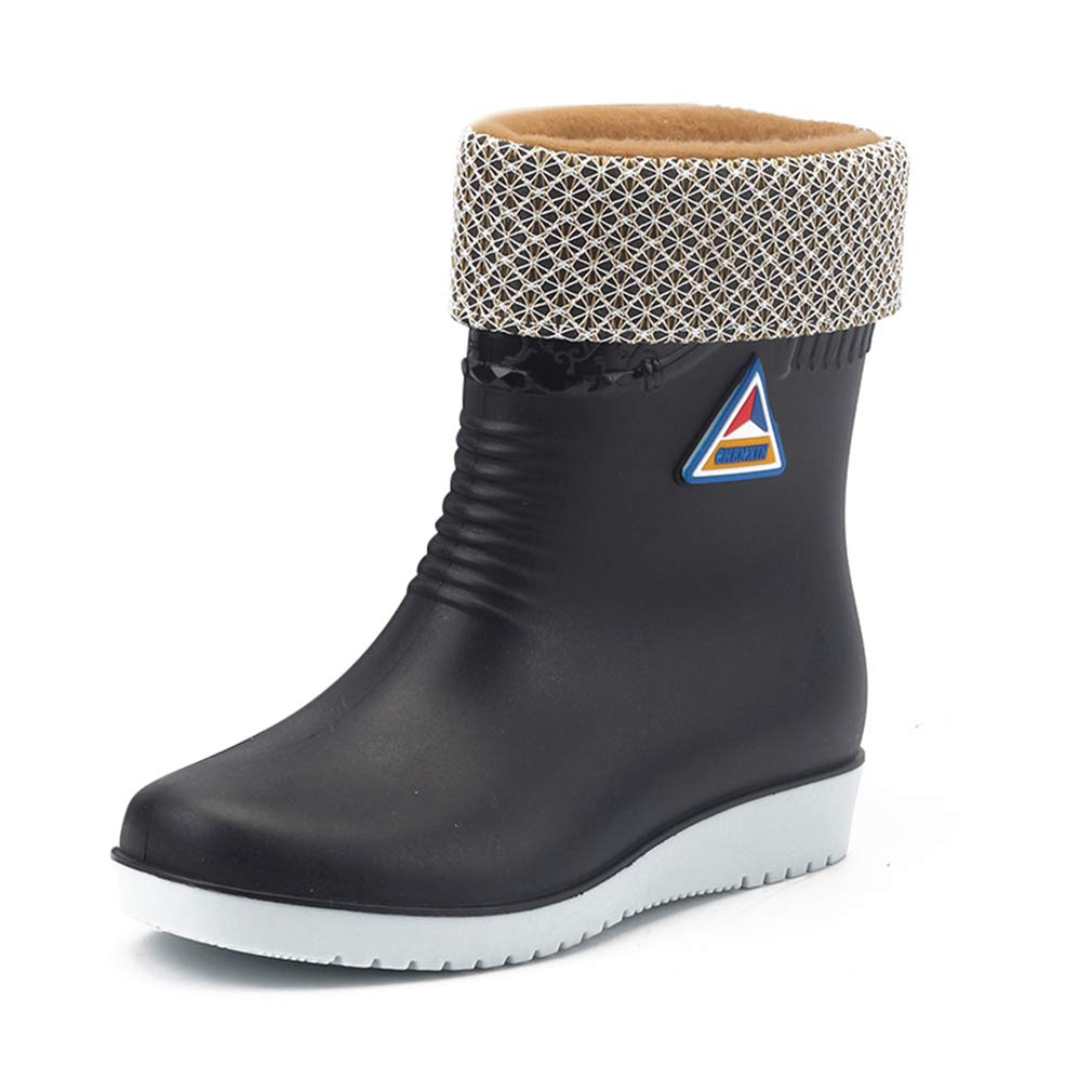 Starito Wellington/Boots/Womens Flat Rain/Boots/Ladies Non-Slip Tall Rubber Wellies Winter Ankle/Boots Warm Lined Waterproof Safety Shoes Work Comfort Red Black Blue Beige Size 3.5-7.5 UK