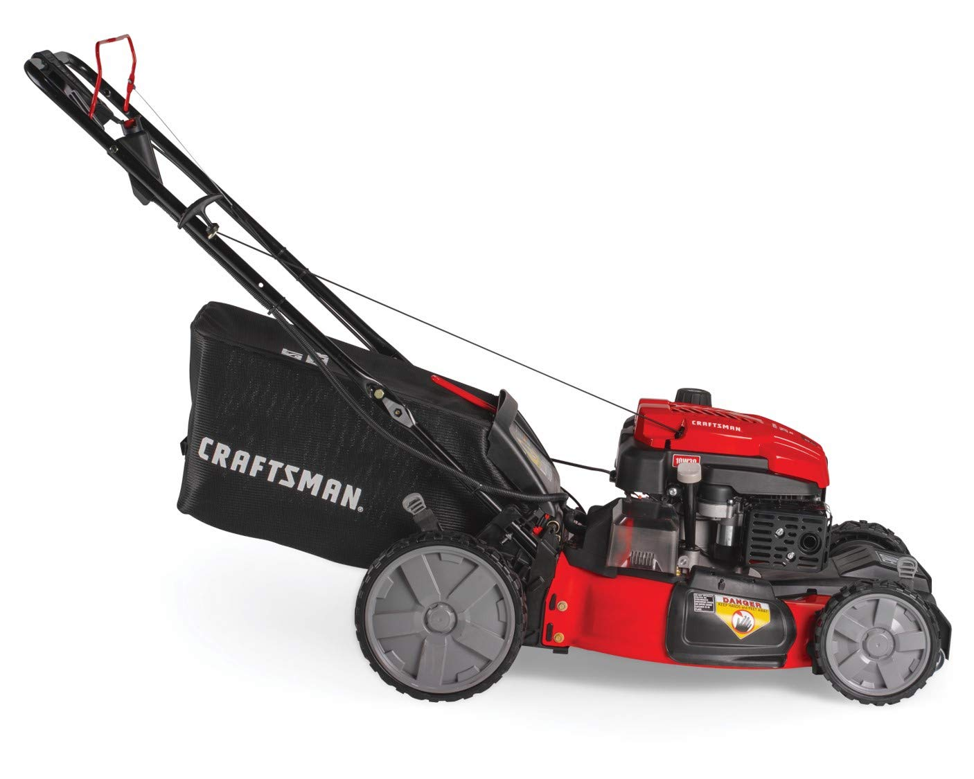 Craftsman M275 159cc 21-Inch 3-in-1 High-Wheeled Self-Propelled FWD Gas Powered Lawn Mower, with Bagger, Red 3 POWERFUL 159CC OHV GAS ENGINE: Powerful gas engine with 21-inch cutting deck to trim grass in one quick pass. 3-IN-1 CAPABILITIES: Unit has side discharge, rear discharge, and mulching capabilities. FRONT WHEEL DRIVE AND SELF-PROPELLED: Move around your yard with less effort at the propulsion speed of your choice.
