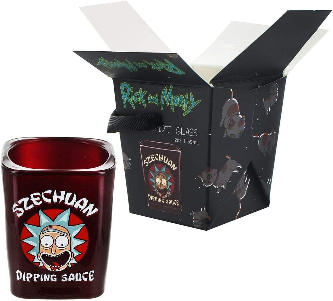 OFFICIAL RICK AND MORTY SET OF 4 SHOT GLASSES PARTY GLASS NEW AND GIFT BOXED