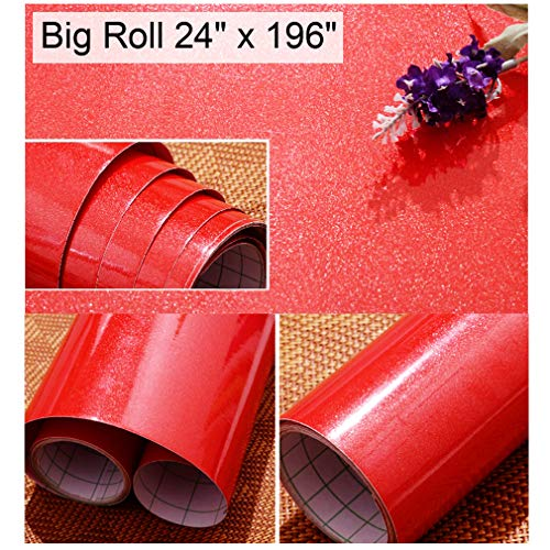 Oxdigi Red Contact Paper Decorative for Countertops Cabinets Waterproof Self-Adhesive Film Peel and Stick Removable Wallpaper 24
