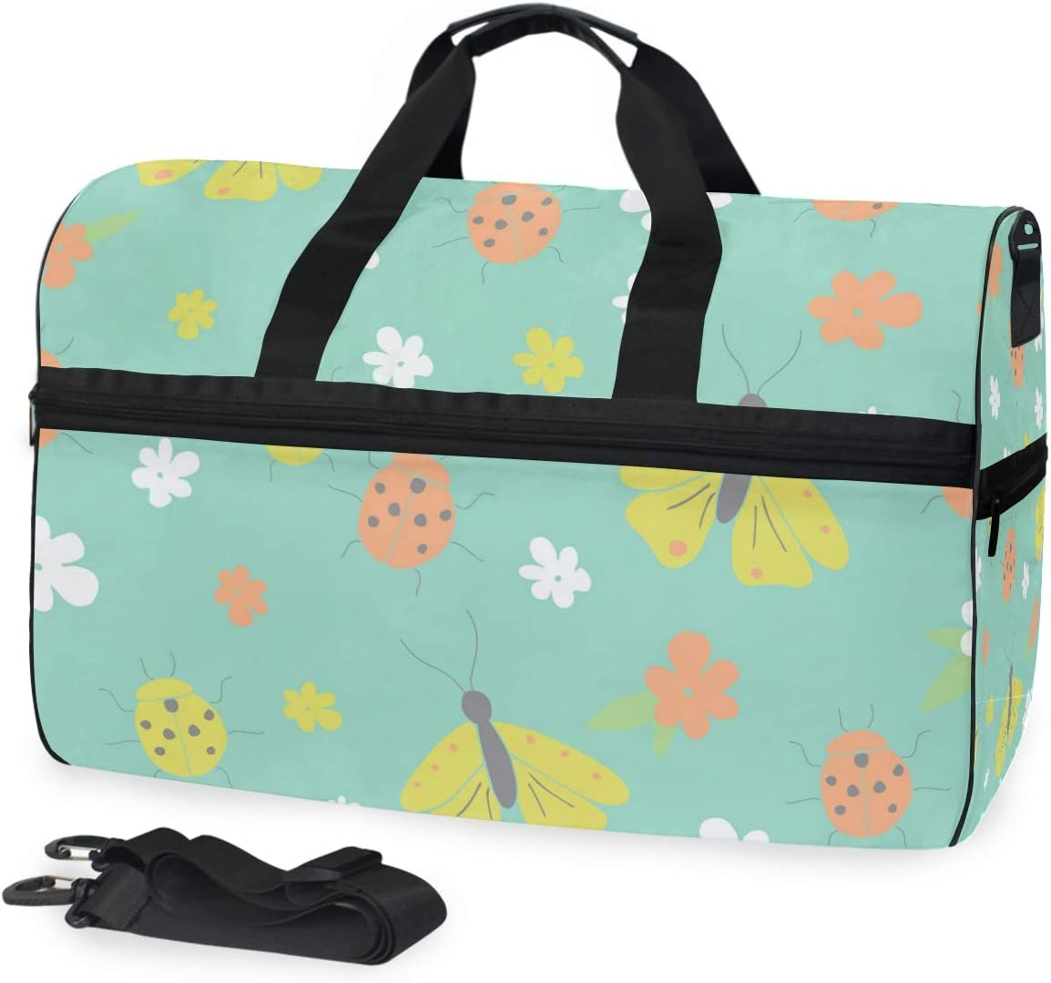Lightweight Water Resistant Tear Resistant FANTAZIO Lady And Moth Sports Bag Packable Travel Duffle Bag