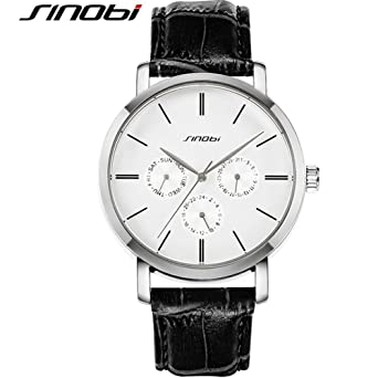 SINOBI Leather Strap Men Watch, Sub-Dials Multifunction Stopwatch Men Chronograph Black reloj de
