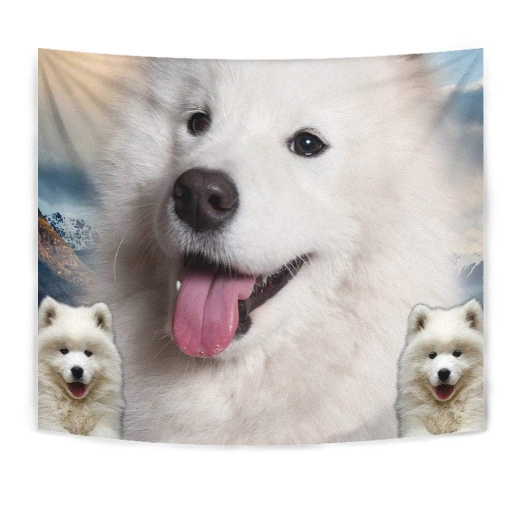 Cute Samoyed Dog Print Tapestry by Paws With Attitude