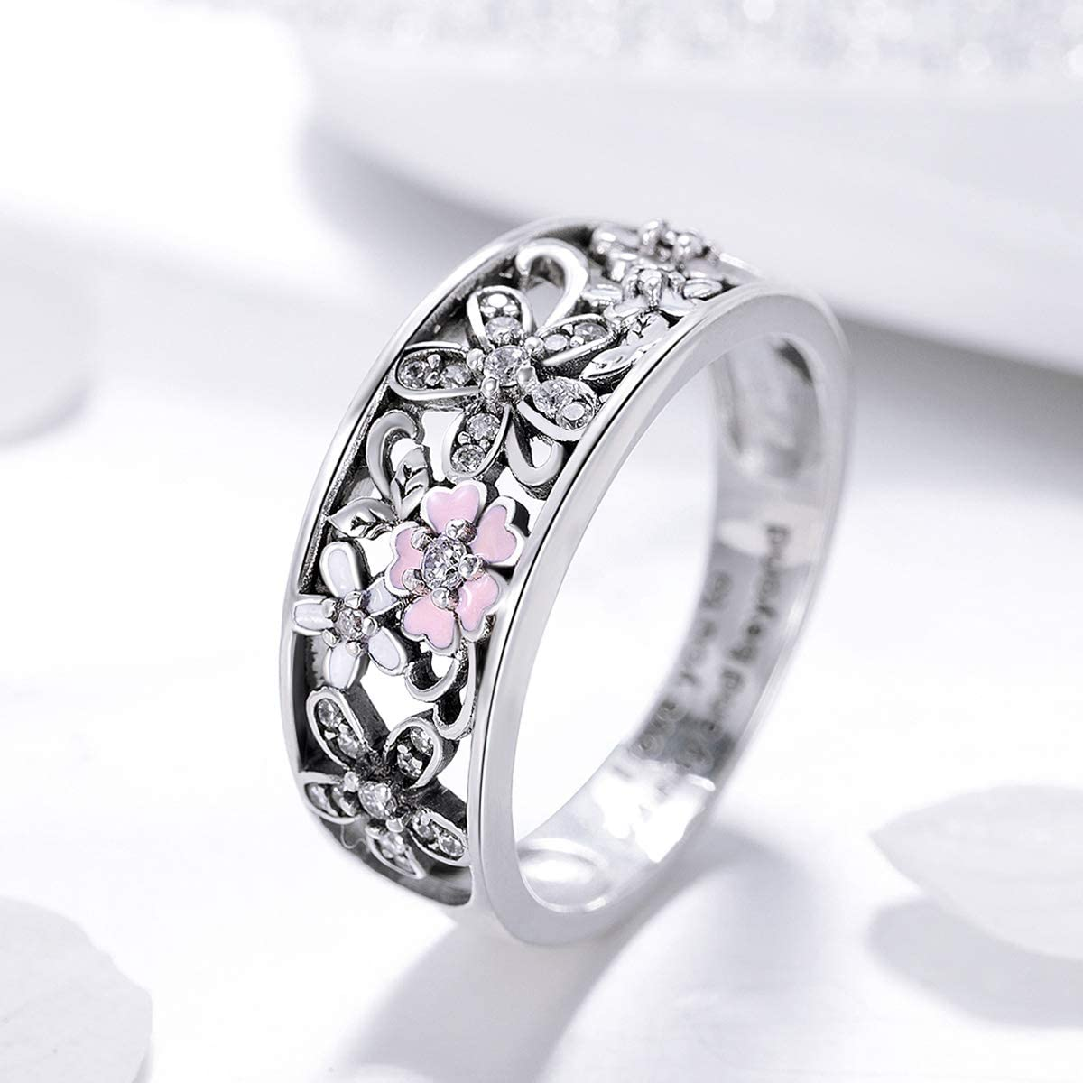 Clear CZ /& Pink Enamel The Kiss Daisy Flower /& Infinity Love Pave 925 Sterling Silver Ring