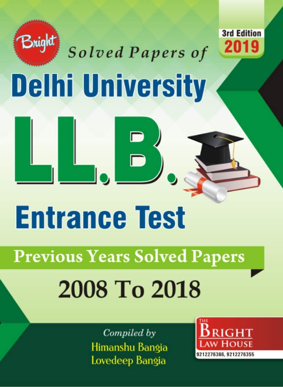 Buy Delhi University LLB Entrance Test Solved Papers (2008