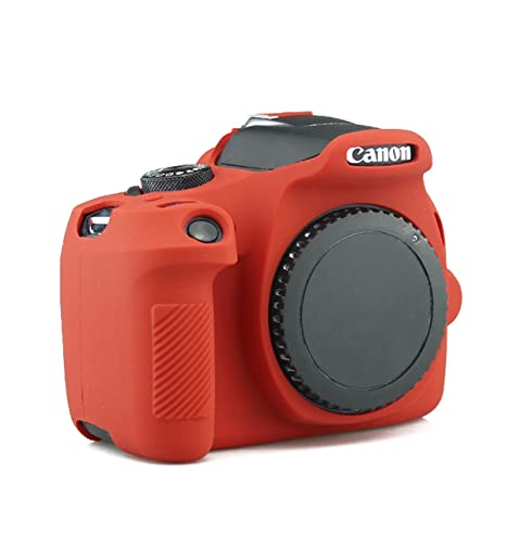 CEARI Silicone Camera Case Full Body Protective Cover Skin for Canon EOS 1300D Rebel T6 Digital Camera + Microfiber Cloth - Red