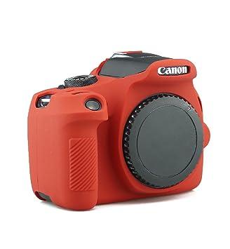 tuyung silicona cuerpo completo cubierta protectora piel Funda para Cámara Canon EOS 1300d Rebel T6 Cámara Digital (rojo)