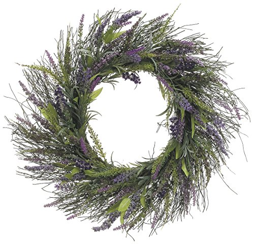 23 Inch Lavender and Wild Grasses Wreath On Twisted Vine Base (Floral Dried Wreath)