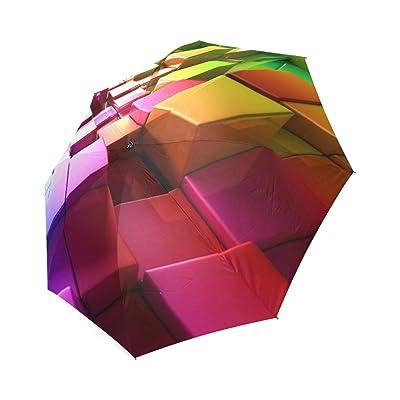 Customized Unique Colorful Cubes Folding Rain Umbrella
