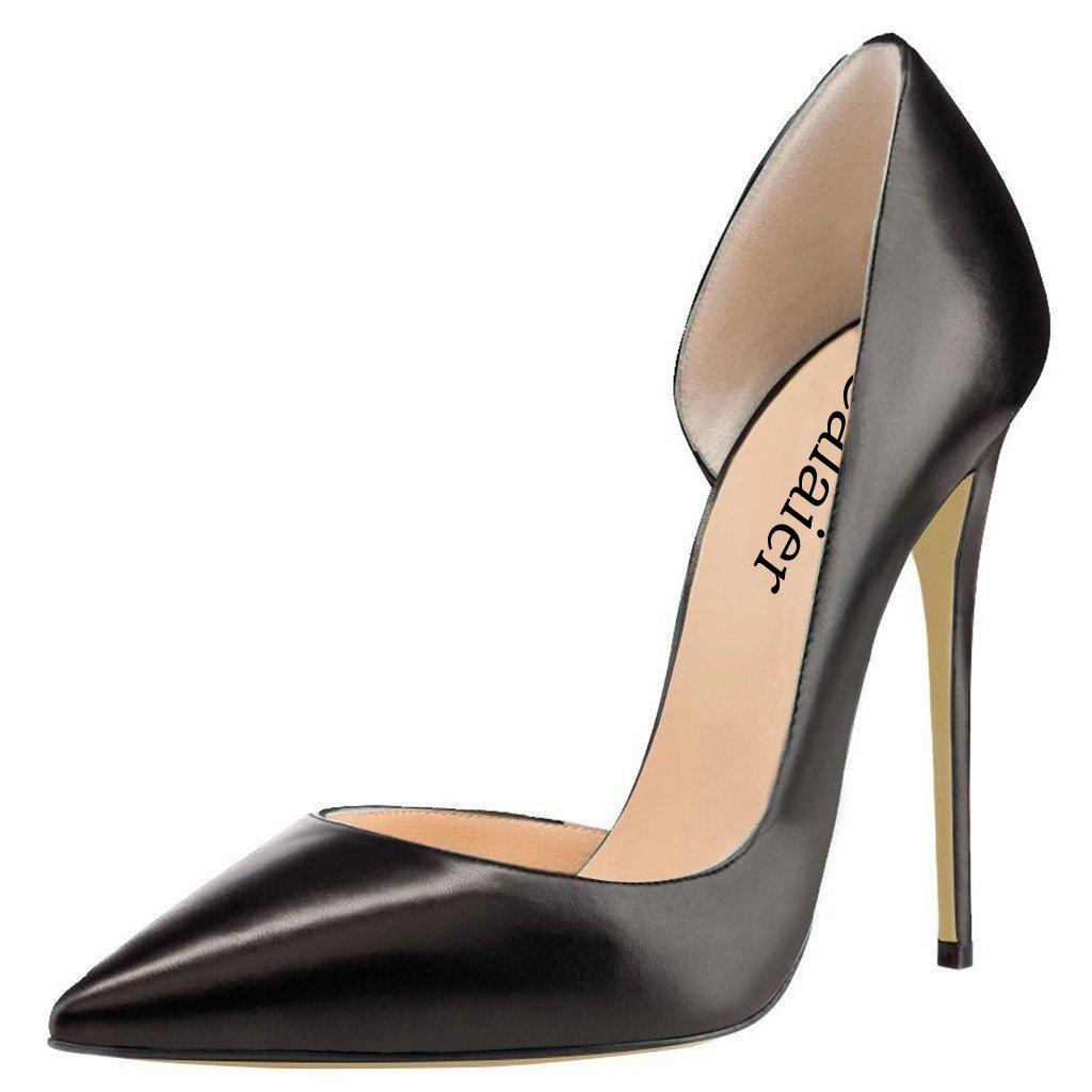 Calaier Mujer Cadislike Tacón De Aguja 12CM Cuero Ponerse Zapatos de tacón 39 EU|Negro
