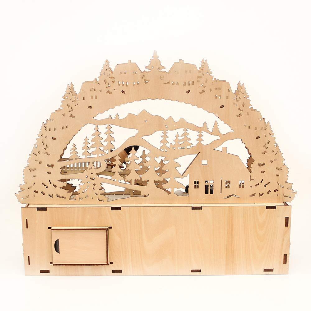 Dekohelden24 3D LED Schwibbogen mit Bank, Bank, Bank, Motiv: Schneemannfiguren, ca. 45 x 9 x 34 cm 86520f