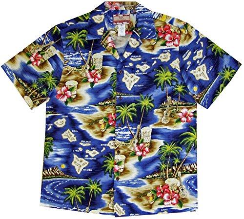 RJC Men's Hibiscus Hawaiian Islands Hawaiian Shirt Navy Blue Medium