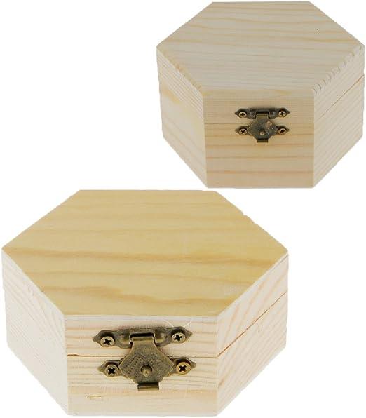 MagiDeal Caja de Madera Forma Hexagonal Sin Color para Colorear Decorar 2 Piezas: Amazon.es: Hogar