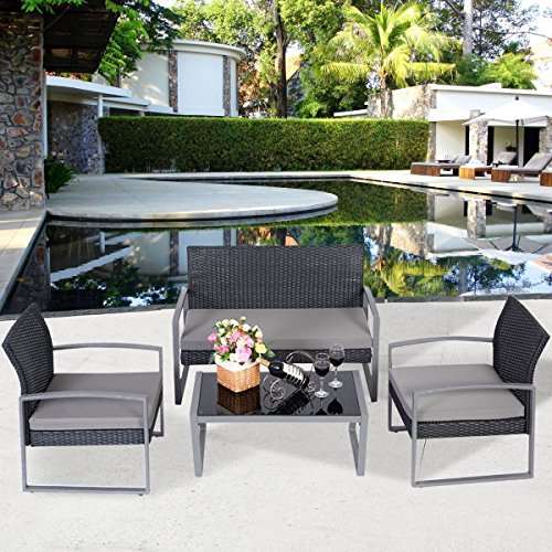 Patio Rattan Wicker Set Sofa Outdoor Furniture Garden Sectional Black Lounge Seat 4 Pcs Cushioned Modern Couch (Chaise Chairs Lounge Unusual)
