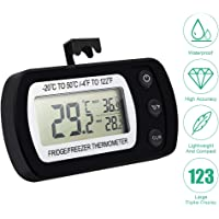 Digital Refrigerator Thermometer,Freezer/Refrigerator Thermometer with Large LCD Display,Max/Min Record Function Thermometer for Kitchen, Home, Restaurants