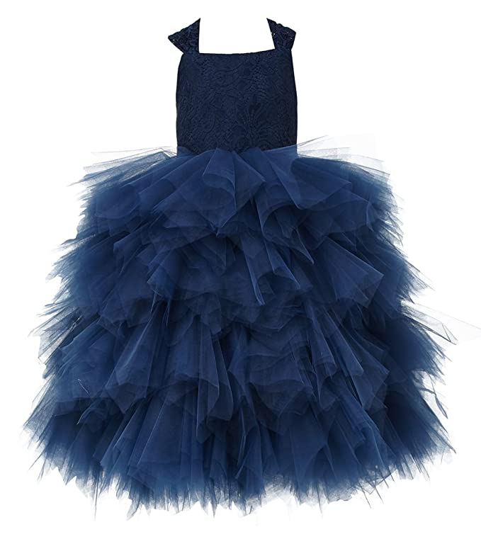 450e3b02bf1 Amazon.com  princhar Lace Tulle Ruffle Flower Girl Dress Wedding Party  Formal Pageant Dresses  Clothing