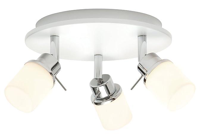 Saxby rennes 25w triple matt white matt opal duplex glass ip44 bathroom ceiling bar spot