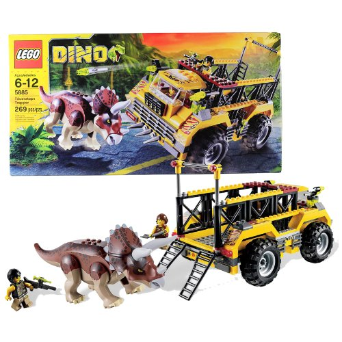 Lego Year 2012 Dino Series Set #5885 - TRICERATOPS TRAPPER with Trapper Truck, Triceratops Dinosaur and 2 Hero Minifigures (Total Pieces: 269)