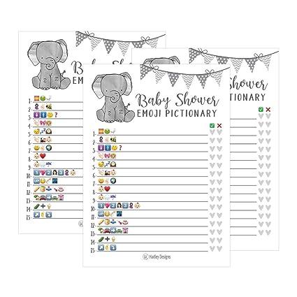 Ideas Para Baby Shower Elefante.25 Elefantes Emoji Piccionario Baby Shower Juegos Ideas Para