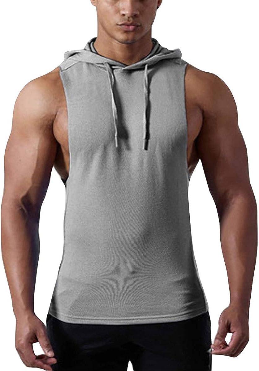 Cabeen Herren Gym Stringer Tank Top mit Kapuze Unterhemd Muskelshirt Hoddie f/ür Bodybuilding
